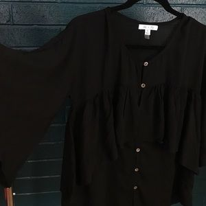 She + Sky Black Tiered Ruffle Button Up Blouse Top